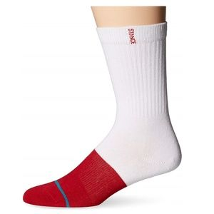 STANCE Transition Red and White Crew Socks L